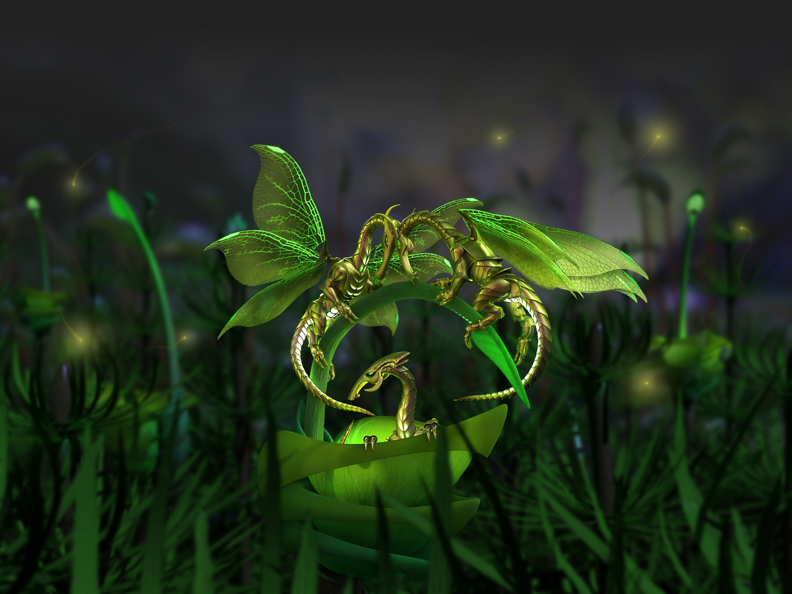 3D model little green fireflies dragons butterfly fight in flower for females