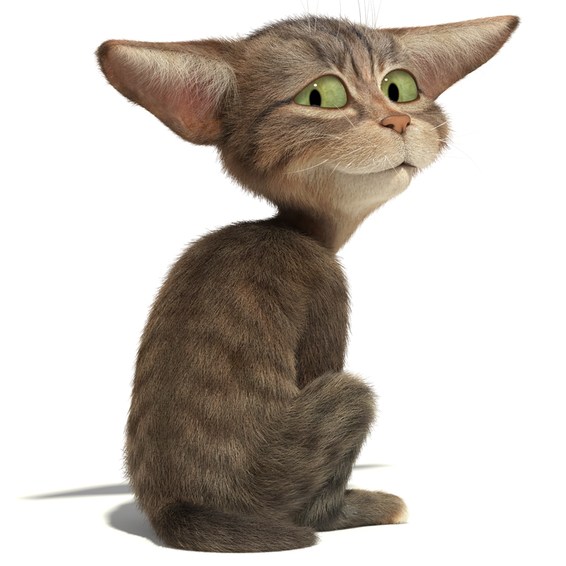 3D Cartoon furry little cat looks with a smile