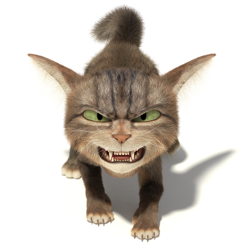 3D Cartoon little fluffy angry cat bares his teeth and growls