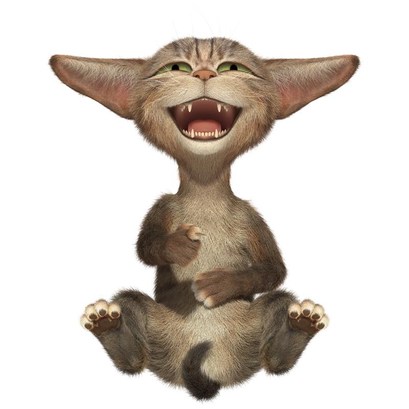 3D Cartoon little fluffy cat laughs mouth wide open