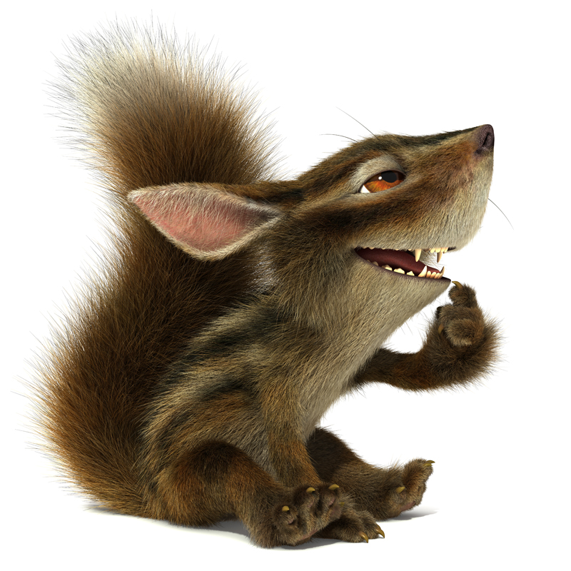 3D Cartoon furry little Chipmunk