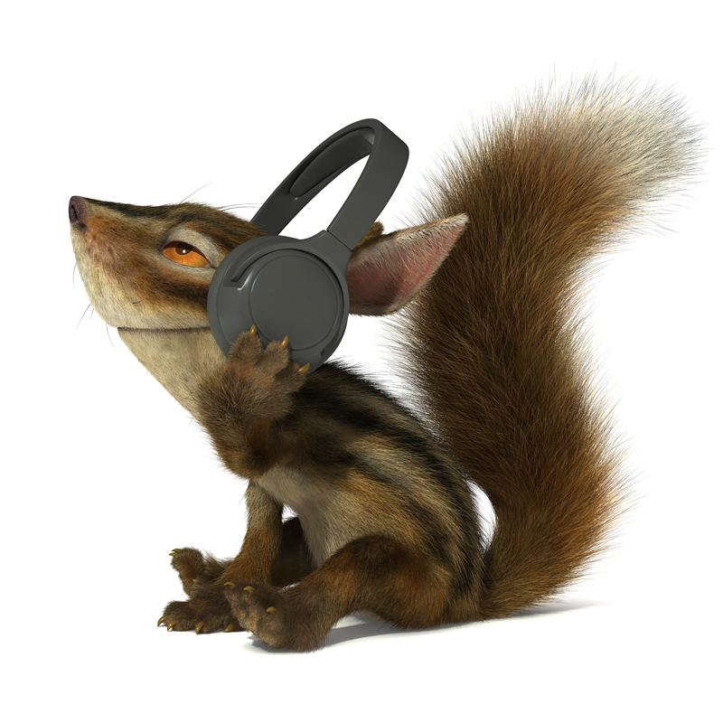3D Cartoon furry little Chipmunk listening to music on headphones