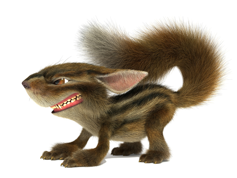 3D Cartoon furry little evil Chipmunk bared teeth and growls