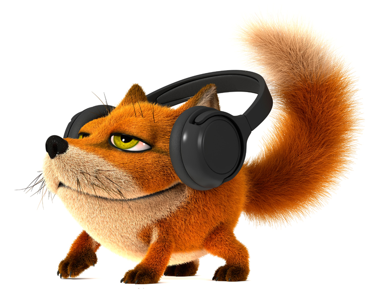 3D Cartoon little red Fox listening to music on headphones