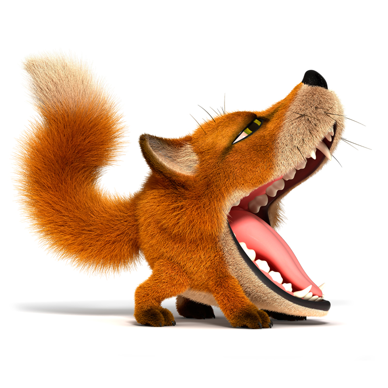 3D Cartoon little red Fox wide open toothy mouth and yawns