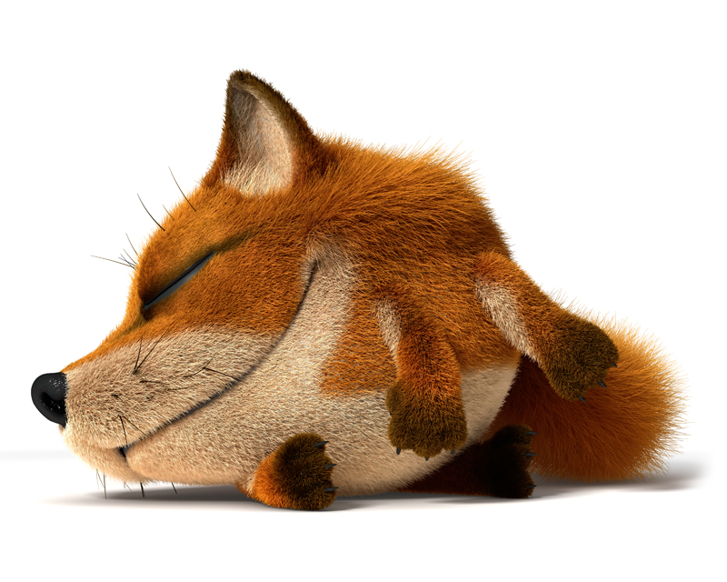 3D Cartoon little red Fox lying down with eyes closed and sleeping