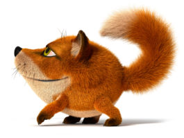 3D Cartoon little red Fox goes with her head held high