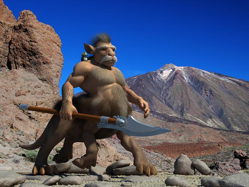 3D muscular fantasy centaur halberd runs in the background of mountains