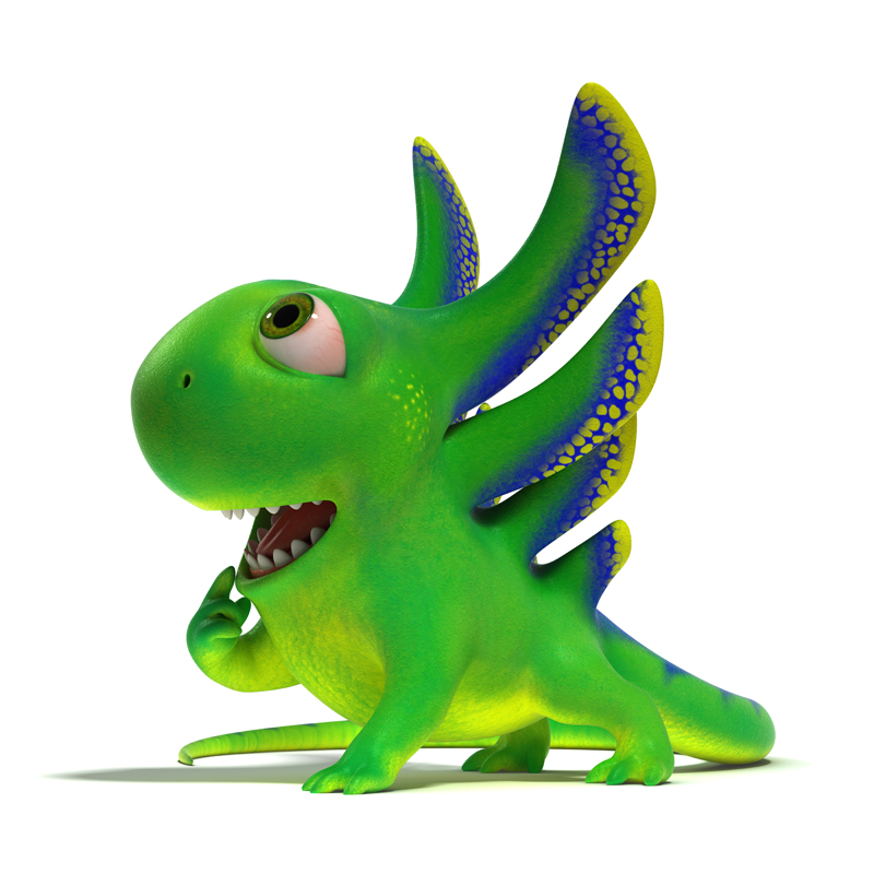 3D cartoon little green lizard opened his mouth and looks up