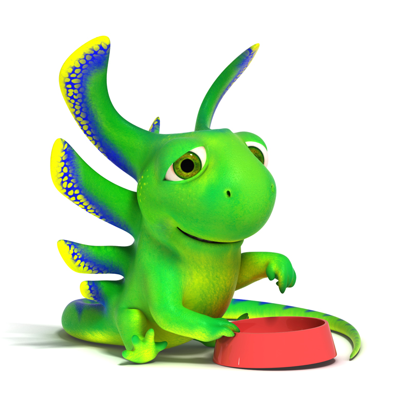 3D cartoon little green lizard points to the empty plate and asking for food