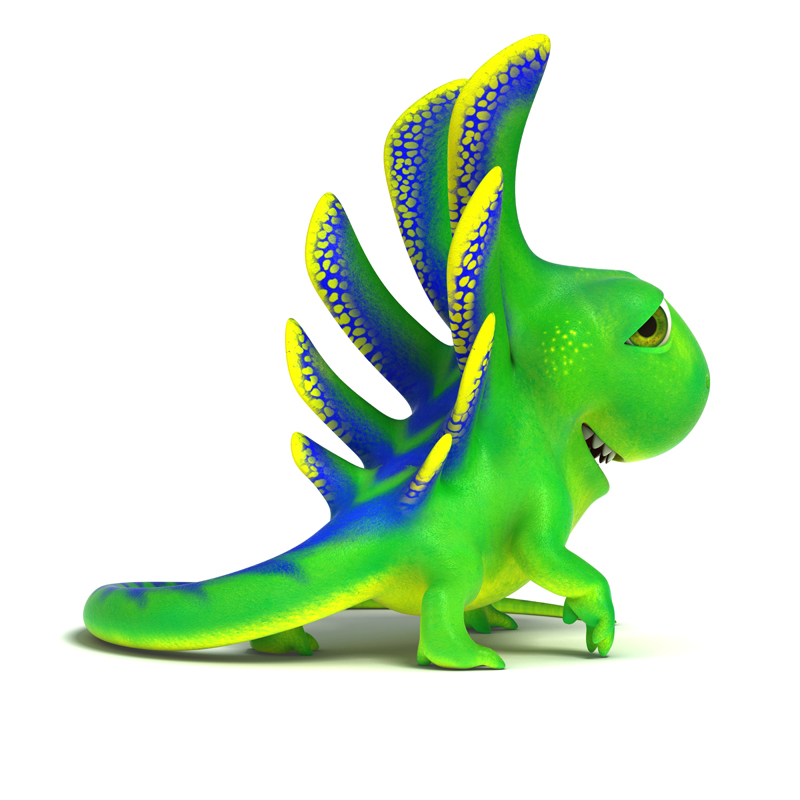 3D cartoon little green lizard. The view from the back