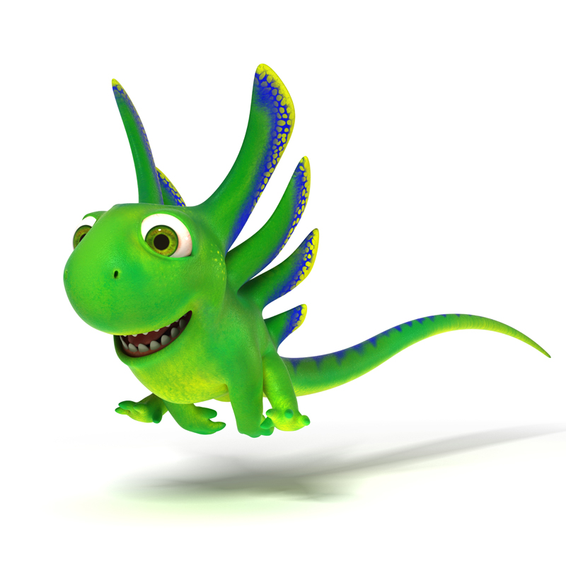 3D cartoon little green lizard with a smile running fast
