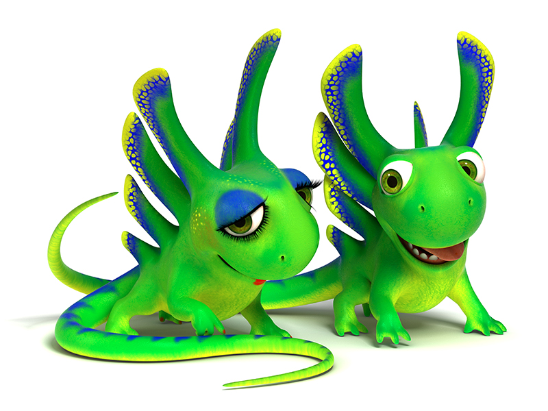 3D cartoon little green lizard with a love-look cares for her friend