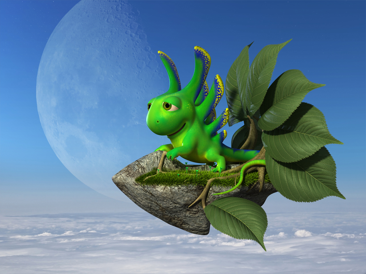 3D cartoon little green lizard flying on a magical bike made from stone with green leaves