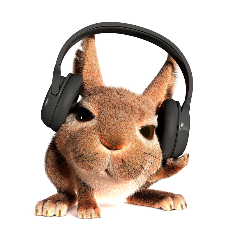 3D Cartoon little fluffy Easter Bunny listening to music on headphones