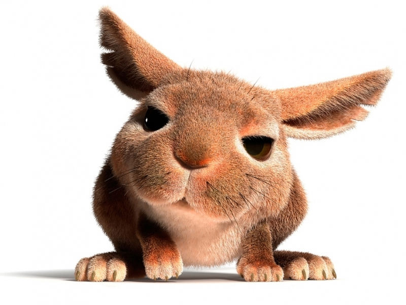 3D Cartoon little Easter Bunny is looking at you