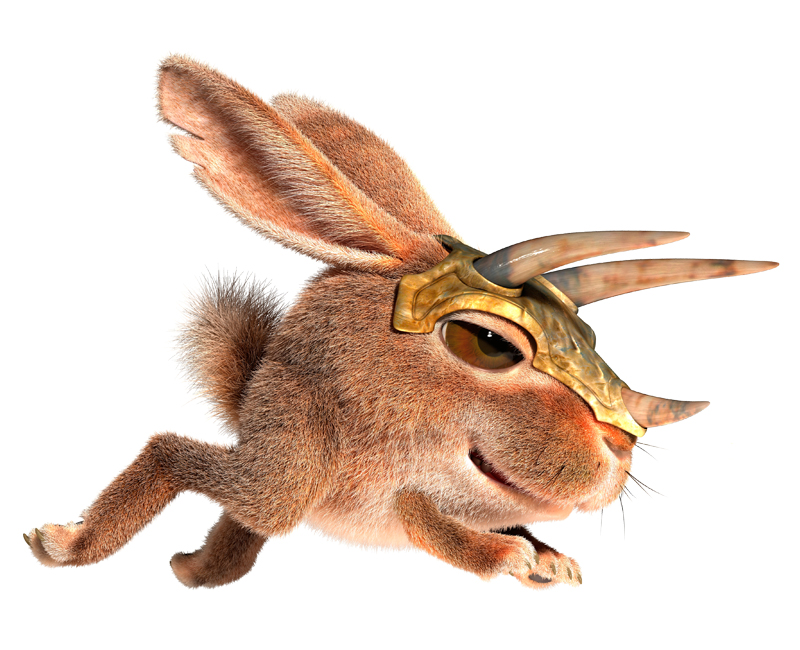 3D Cartoon little fluffy Bunny in a horned helmet running attack