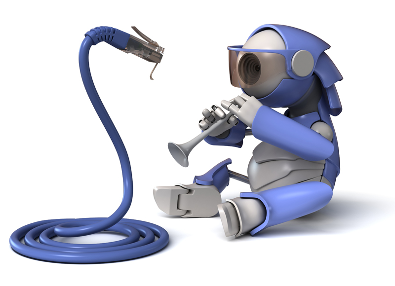3D robot with eye WEB camera is a pipe. The serpent of network cable