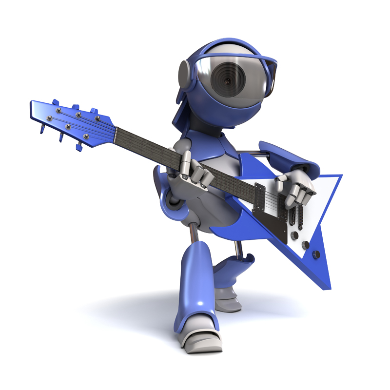3D robot with eye WEB camera plays music on an electric guitar