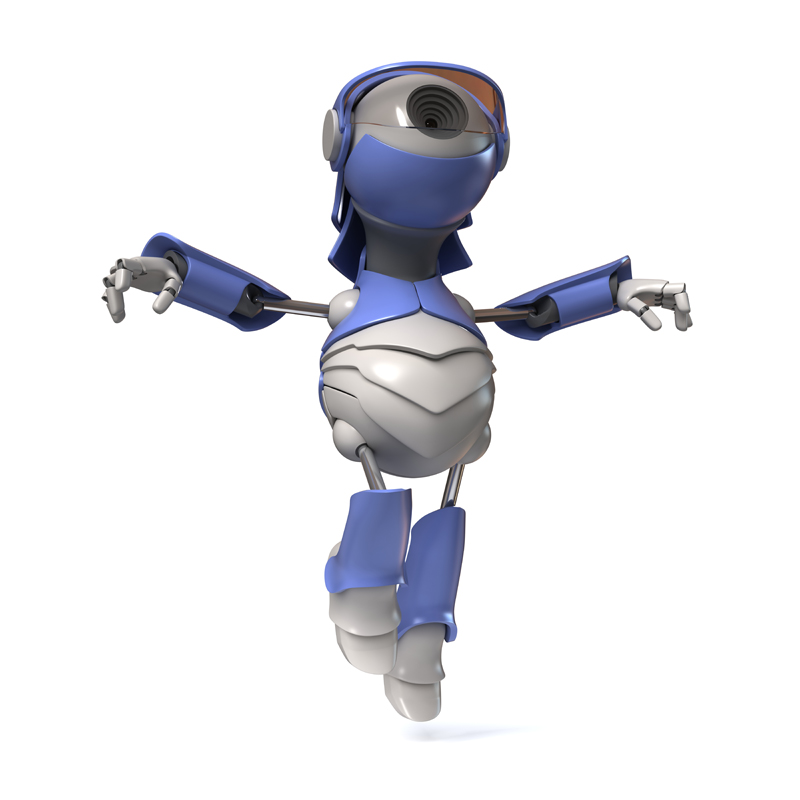 3D robot with eye WEB camera flies up
