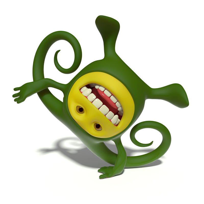 3D little green smiley acrobat standing on one hand upside down