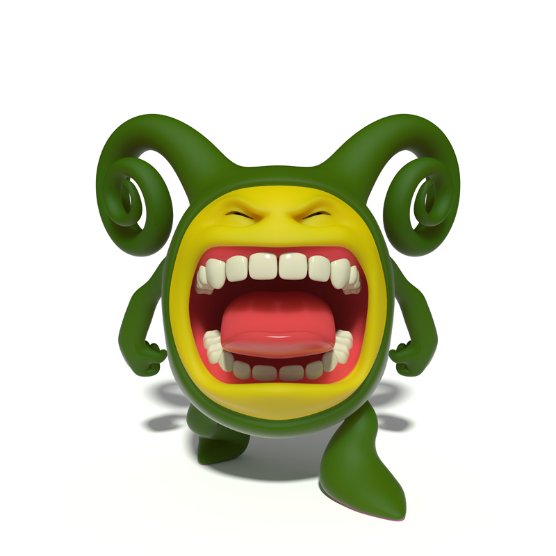 3D small green evil smiley screaming wide open toothy mouth