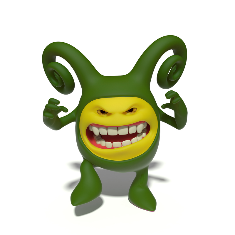 3D small green evil smiley growls with his mouth open in a grin