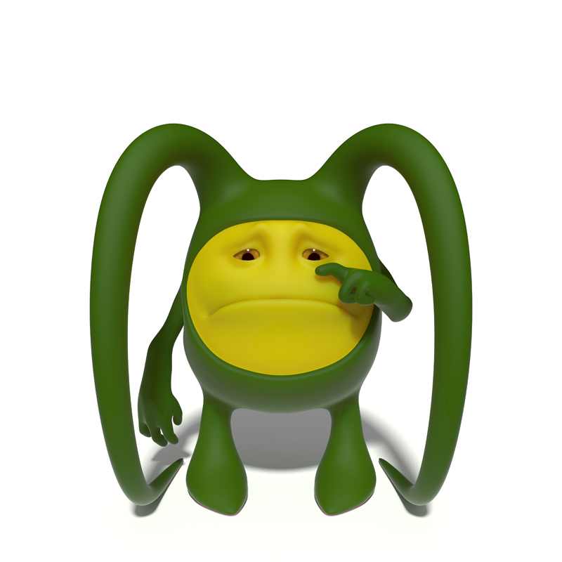 3D little green sad face crying and wipes his tears with a finger