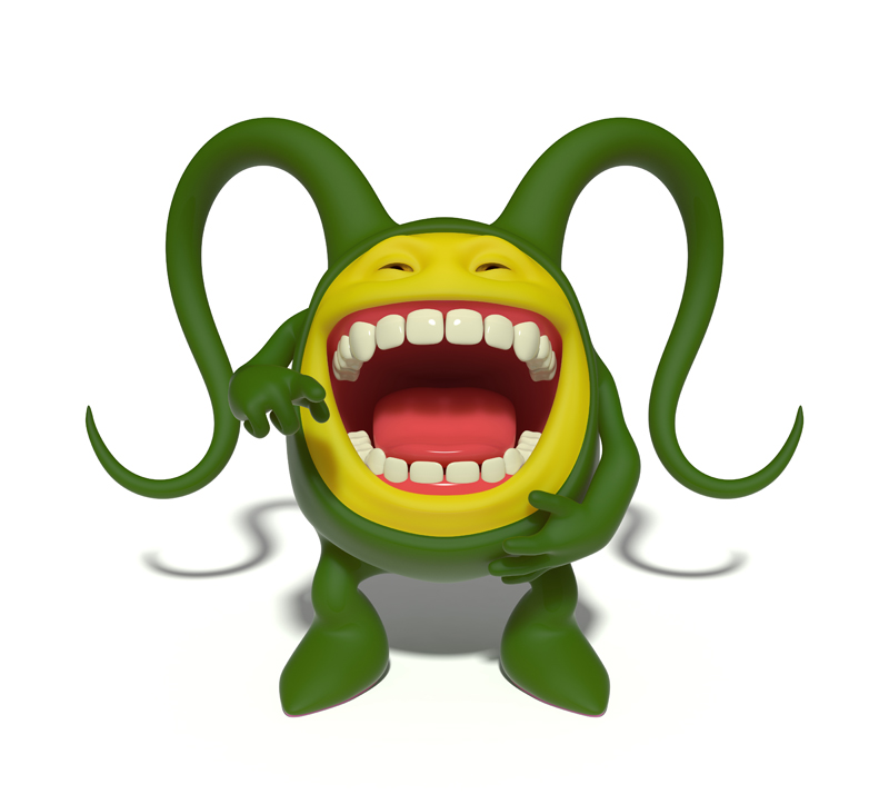 3D funny little green smiley face with its mouth wide open laughing and pointing