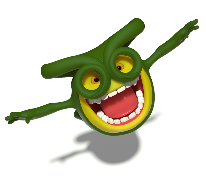 3D little green smiley pilot flies arms outstretched like the wings