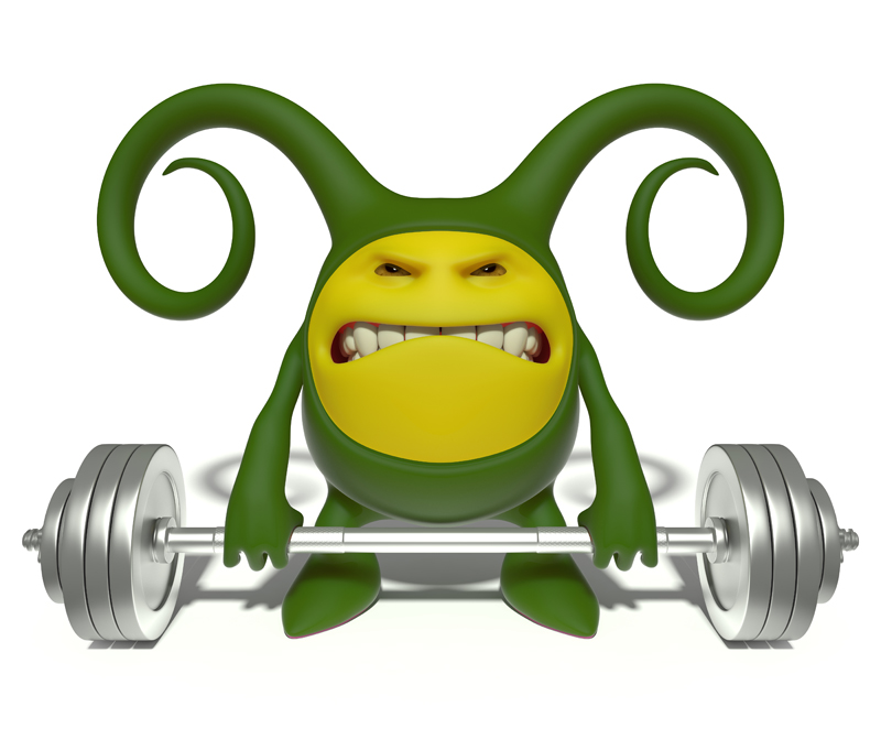 3D little green smiley lifts a very heavy barbell making great efforts