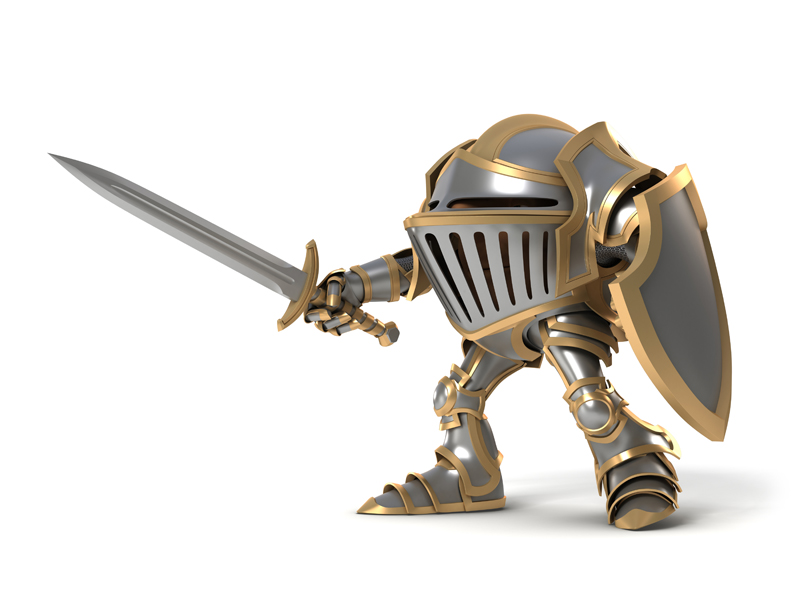 Cartoon attacking knight with sword and shield