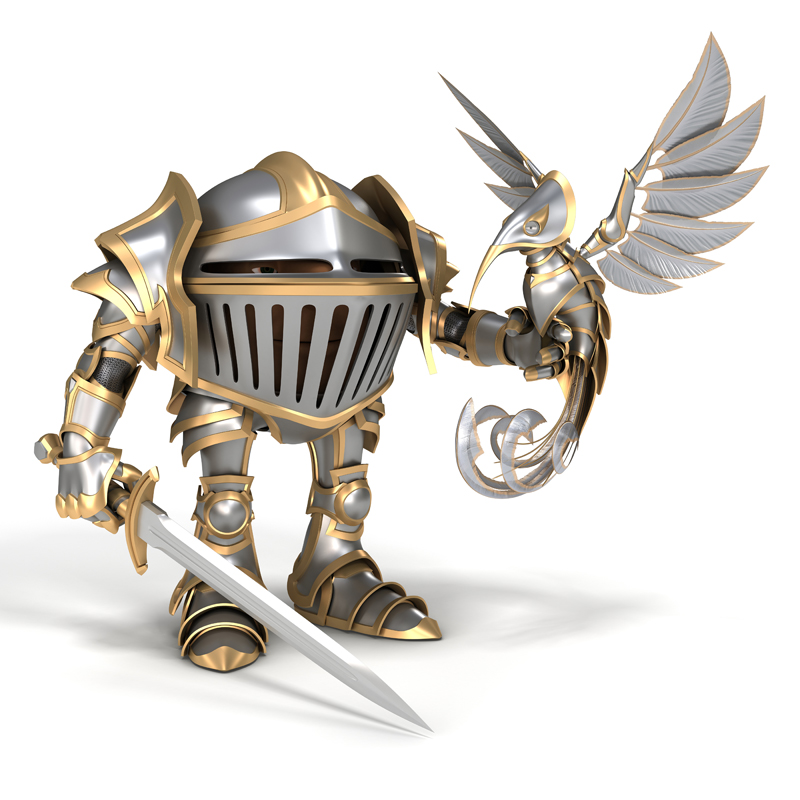 Cartoon knight with sword and steel bird sitting on the hand