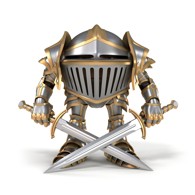 Cartoon knight in steel armor holding crossed swords