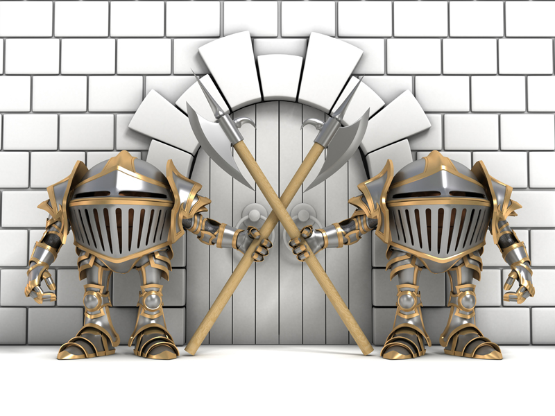 Cartoon knights in steel armor guards with halberds in the hands of guarding the gates