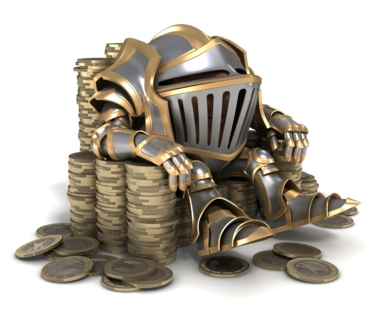 Cartoon knight in steel armor sitting on a throne of gold Euro coins