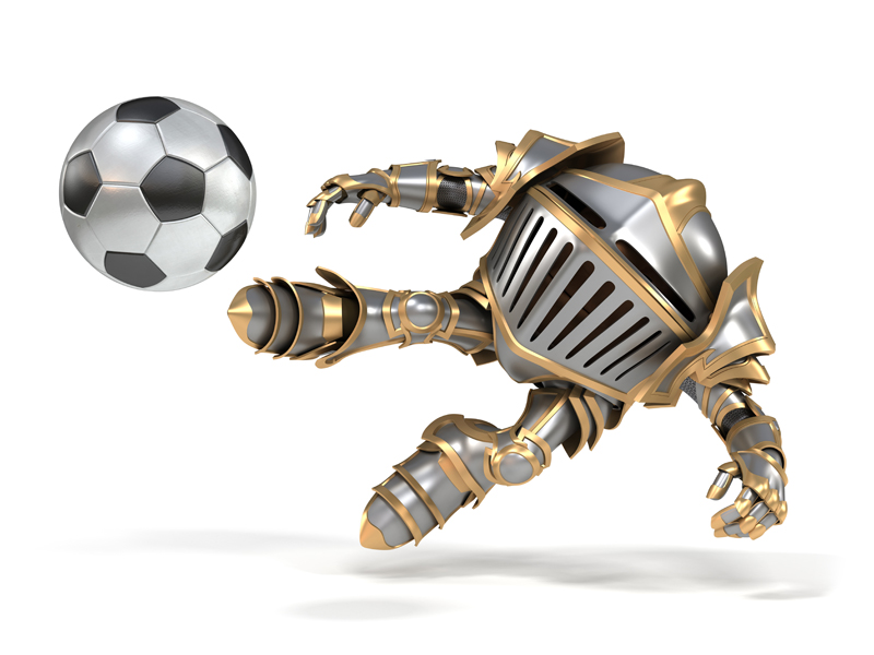 Cartoon knight in steel armor the player kicks the ball
