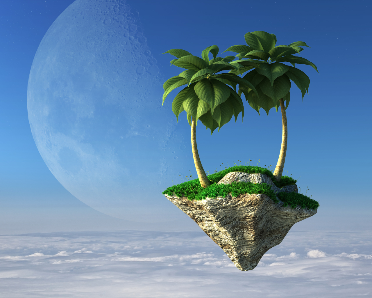 3D palm trees on flying stone island on a background of clouds and a giant moon