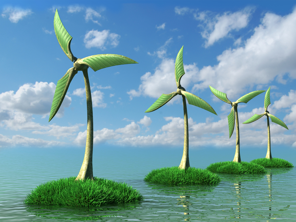 3D trees wind turbines on the Islands with grass in sea against clear blue sky