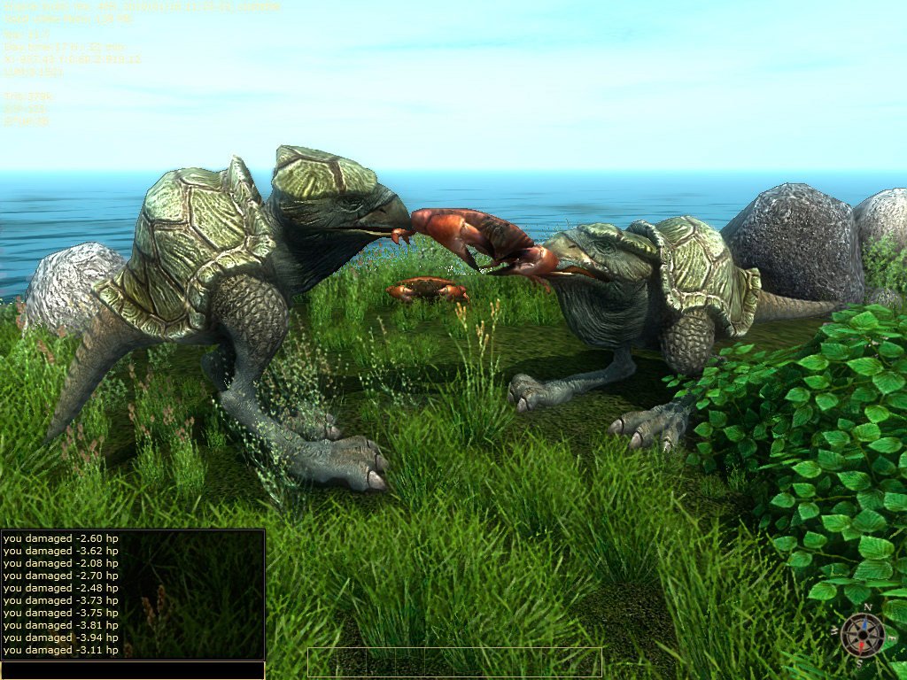 3D low poly model of a fantastic animal. Hybrid birds and turtles fight over food. The view from the game