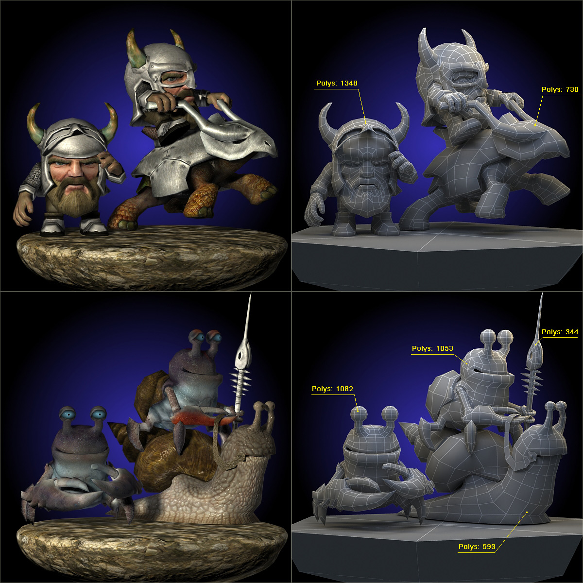 3D low poly model. Fantastic funny little characters. The knight in the horned helmet riding on sled turtle. Crab with a spear riding on a snail.