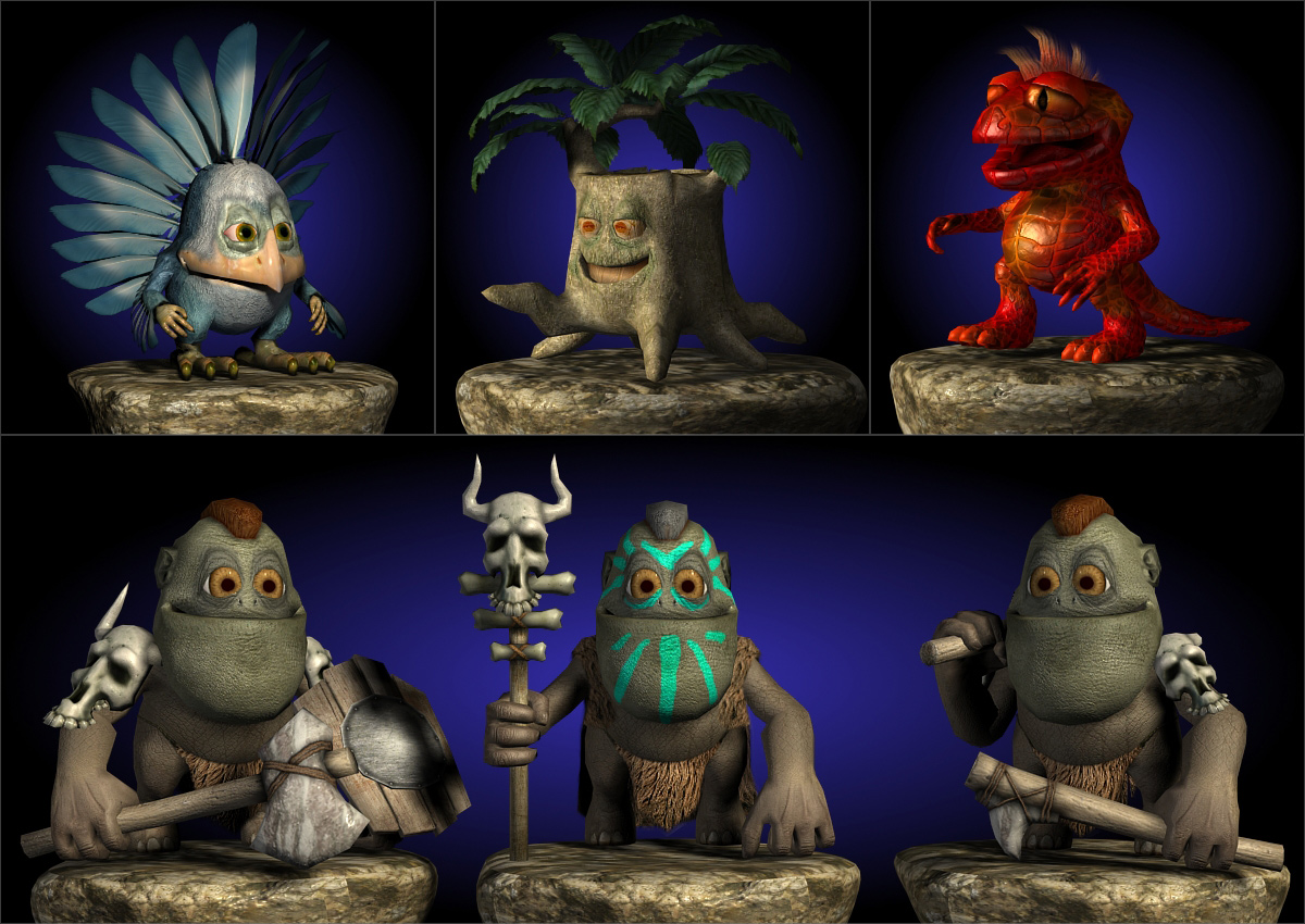 3D low poly model. Fantastic funny little characters. Dendroid, bird, lizard, dragon and savage