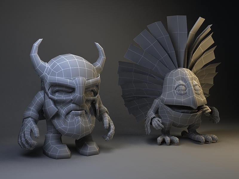 The topology of the 3D low-poly model.Fantastic funny little characters. The knight and the bird