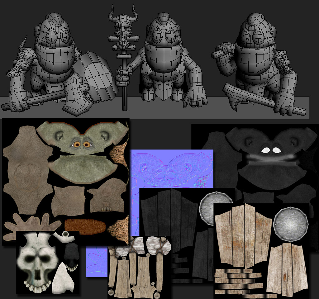 Topology and texture low poly 3D model.Fantastic funny little characters. Savage