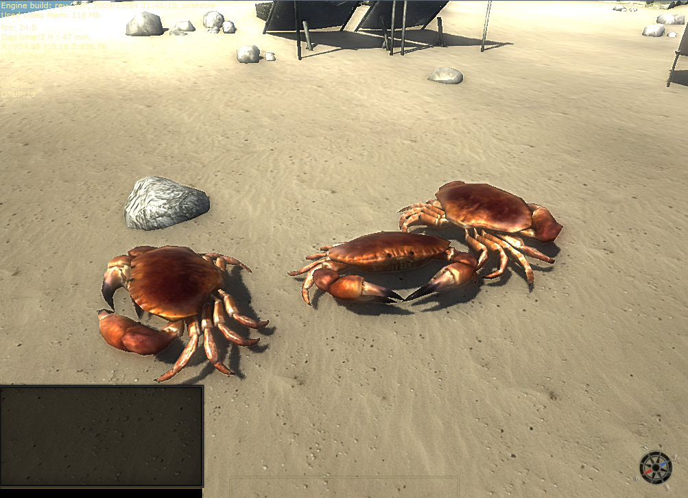 3D low poly model of a red crab. The view from the game.