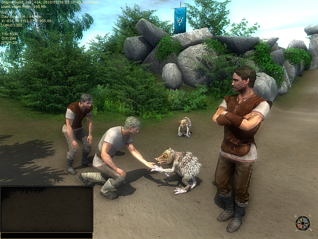 3D low poly character models men in medieval fantasy clothes and fantastic animal hedgehog. The view from the game.