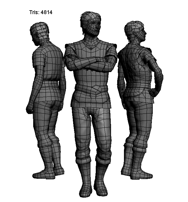 The topology of 3D low poly character models in medieval fantasy clothing