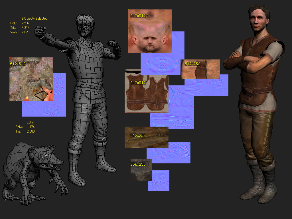 Topology and texture low poly 3D models characters men in medieval fantasy clothes and fantastic animal hedgehog