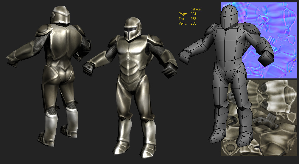 Topology and texture low poly 3D model.Fantastic character foot soldier in steel armor