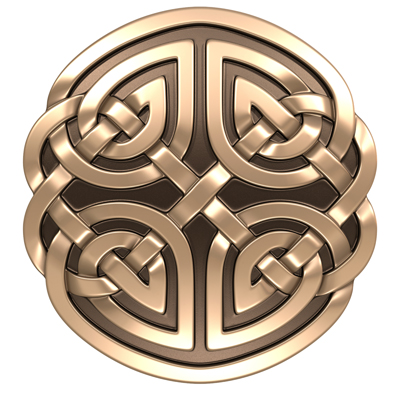 3D model. Round Celtic ornament. Bronze. Gold.